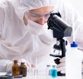 Due chimici che lavorano in laboratorio immagine stock