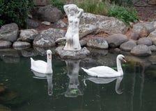 Due cigni in uno stagno con la scultura antica Fotografie Stock Libere da Diritti