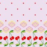 Due ciliege rosse con le foglie ed il modello geometrico degli elementi Fotografie Stock