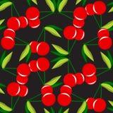 Due ciliege rosse con le foglie su un modello senza cuciture del fondo nero Immagine Stock Libera da Diritti