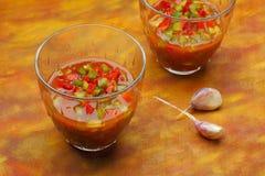 Due ciotole di zuppa di verdure fredda con rosso tagliato e peperoni verdi Fotografia Stock Libera da Diritti