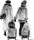 Due cittadine vanno ad un viaggio Immagini Stock