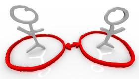 Due collegamenti di rete di comunicazione della gente Immagine Stock Libera da Diritti