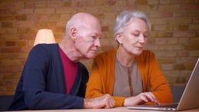 Due colleghi caucasici dai capelli grigi senior che lavorano al nuovo progetto comune sul computer portatile in ufficio archivi video