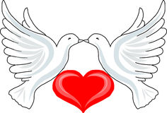 Due colombe con cuore Fotografia Stock Libera da Diritti