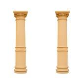 Due colonne nello stile ionico, isolato su fondo bianco immagini stock
