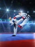 Due combattenti femminili professionali di karatè sono Fotografie Stock