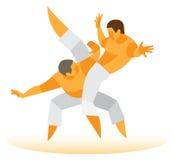Due combattenti impegnati in arti marziali illustrazione vettoriale