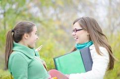 Due compagni di classe che parlano nella foresta immagini stock