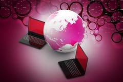 Due computer portatili 3D intorno ad un globo del mondo Immagini Stock Libere da Diritti