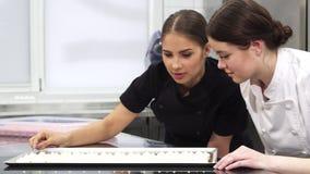 Due confettieri femminili che esaminano le meringhe su un vassoio fotografie stock