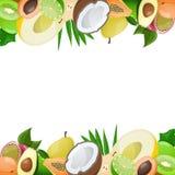 Due confini fatti di frutta matura deliziosa Fotografia Stock