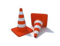 Due coni di traffico Immagine Stock