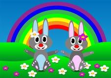 Due conigli illustrazione di stock