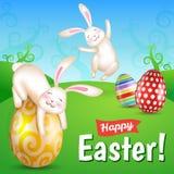 Due coniglietti di pasqua allegri bianchi nel prato Fotografia Stock