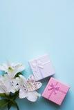 Due contenitori di regalo con alstroemeria fiorisce su backgroun blu-chiaro Fotografie Stock Libere da Diritti