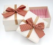 Due contenitori di regalo con la cravatta a farfalla sulla cima fotografia stock