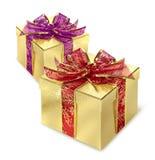 Due contenitori di regalo dorati Immagine Stock Libera da Diritti