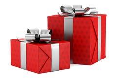 Due contenitori di regalo rossi con i nastri d'argento isolati su bianco Fotografia Stock