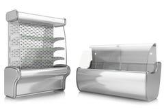 Due contenitori per esposizione refrigerati verticali ed orizzontali Fotografia Stock
