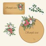 Due contrassegni dell'annata con i fiori Fotografia Stock
