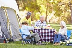 Due coppie senior che godono della vacanza in campeggio Fotografie Stock Libere da Diritti