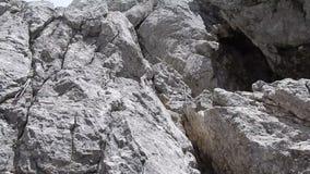 Due corde su una roccia con una vista verticale video d archivio