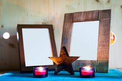 Due cornici di legno Fotografia Stock