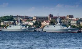 Due corvette moderne della marina russa Immagini Stock Libere da Diritti