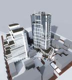 Due costruzioni moderne di palazzo multipiano Fotografia Stock