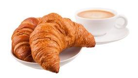 Due croissant con caffè Immagini Stock Libere da Diritti