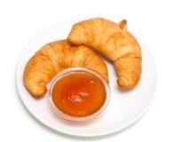 Due croissant ed inceppamenti fotografia stock libera da diritti