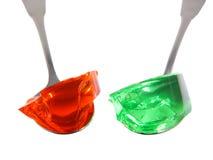 Due cucchiai con gelatina Fotografia Stock