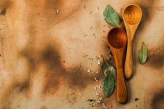 Due cucchiai di legno Immagini Stock Libere da Diritti