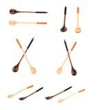 Due cucchiai di legno isolati su bianco Fotografia Stock Libera da Diritti