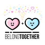 Due cuori appartengono insieme Coppie nell'amore Cartolina d'auguri di Valentine Day del san Linea stile piana illustrazione di stock