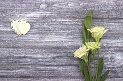 Due cuori bianchi di feltro e dei fiori su un fondo di legno Giorno del biglietto di S nozze Fotografie Stock Libere da Diritti