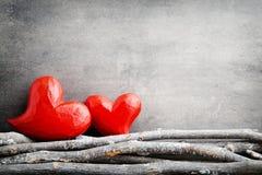 Due cuori Cartoline d'auguri di Valentine Day Immagini Stock Libere da Diritti