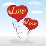Due cuori che in pieno con amore. illustrazione di stock