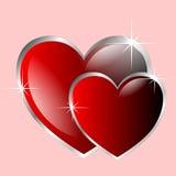 Due cuori del biglietto di S. Valentino Immagini Stock