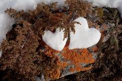 Due cuori della neve sulla roccia Immagine Stock Libera da Diritti