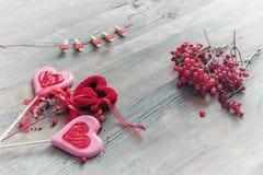 Due cuori di caramello dolce sul ramo di legno del fondo delle bacche di viburno per il giorno del ` s del biglietto di S. Valent Immagine Stock Libera da Diritti