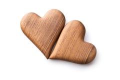 Due cuori di legno Fotografie Stock Libere da Diritti