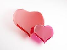 Due cuori di vetro del biglietto di S. Valentino Immagini Stock