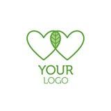 Due cuori e logo verde della foglia Concetto di carità royalty illustrazione gratis