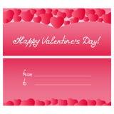 Due cuori Modello per la cartolina d'auguri, certificato, vendite a ribasso il giorno del ` s del biglietto di S. Valentino, gior Fotografie Stock Libere da Diritti