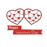 Due cuori nello stile di carta di taglio per il San Valentino Fotografia Stock Libera da Diritti