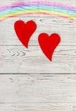 Due cuori rossi Fotografia Stock