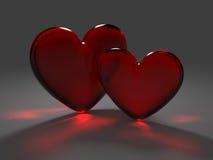 Due cuori rossi da vetro glassato Fotografia Stock Libera da Diritti