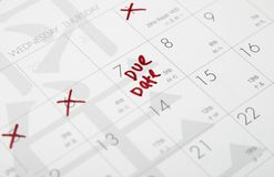 Due date. This is an image of due date in calendar Stock Images